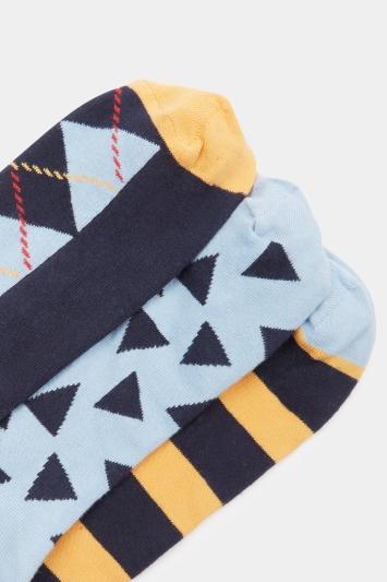 HS by Happy Socks Sky, Mustard & Navy Multi-Pattern 3-Pack Socks