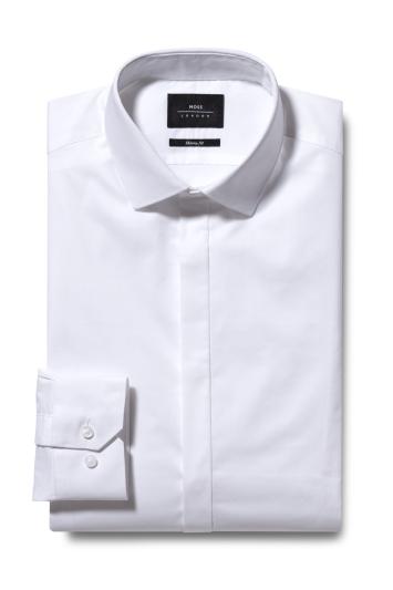 Moss London Skinny Fit White Single Cuff Stretch Dress Shirt