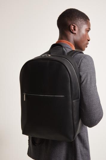Moss 1851 Black Saffiano Zip Pocket Backpack