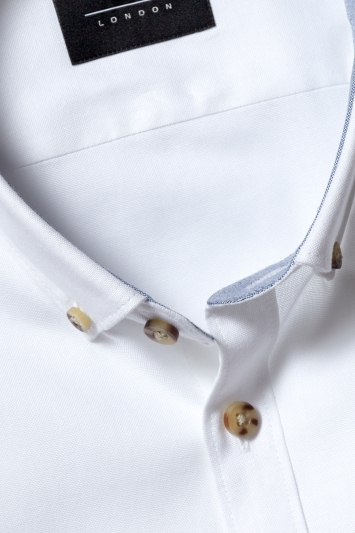 Moss London Casual Skinny Fit White Button Down Stretch Oxford Shirt