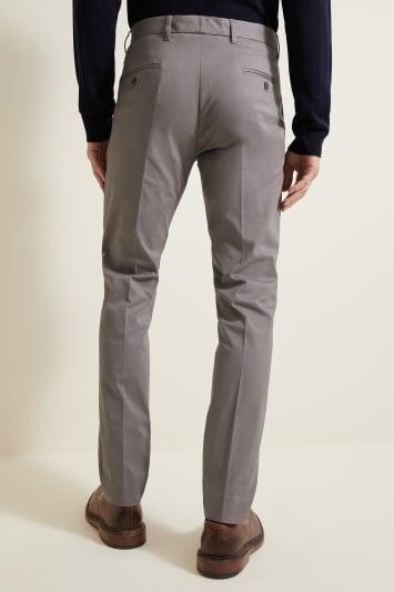 Moss London Slim Fit Light Grey Stretch Chino