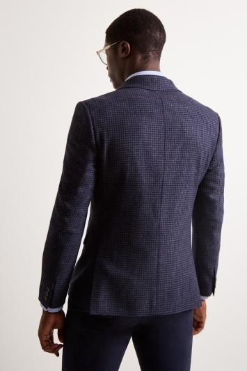 Moss London Slim Fit Blue Houndstooth Jacket