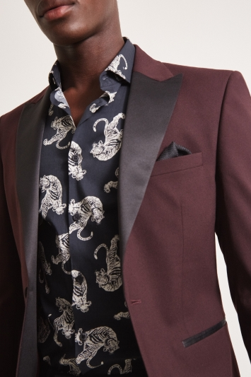 Moss London Slim Fit Burgundy Dresswear Jacket