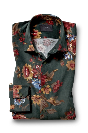 Moss London Skinny Fit Green Single Cuff Floral Cord Overshirt