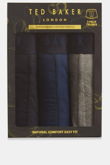 Ted Baker Navy, Grey & Poseidon Blue 3-Pack Boxers in Gift Box