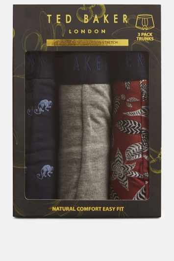 Ted Baker Salmon Leaf, Navy Monkey & Grey Marl Boxers in Gift Box