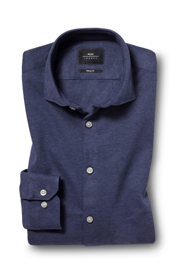 Moss London Skinny Fit Navy Single Cuff Knitted Pique Shirt