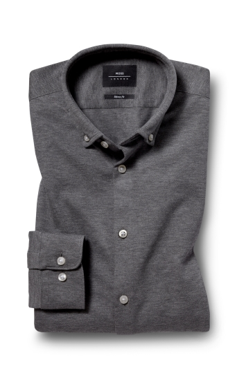 Moss London Skinny Fit Charcoal Single Cuff Knitted Pique Button Down Shirt