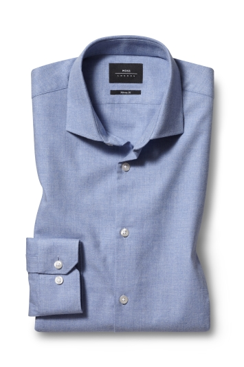 Moss London Skinny Fit Blue Single Cuff Brushed Cotton Shirt