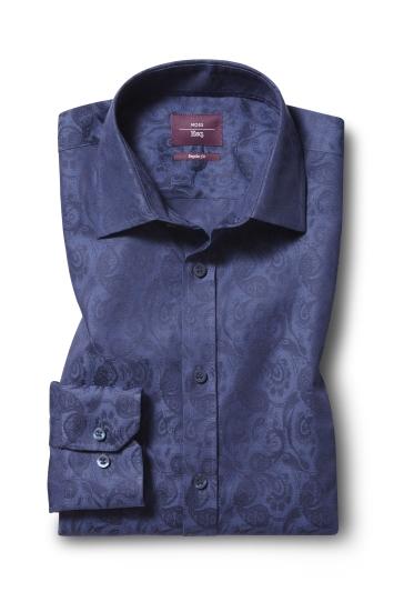 Moss Esq. Regular Fit Blue Single Cuff Jacquard Shirt