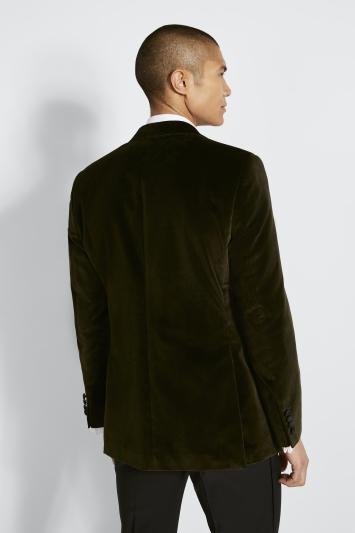 Moss 1851 Tailored Fit Italian Olive Velvet Dress Jacket