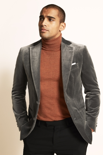 Moss 1851 Tailored Fit Italian Grey Velvet Dress Jacket