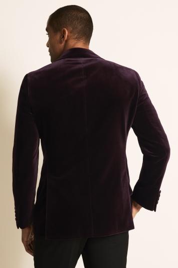 Moss 1851 Tailored Fit Italian Aubergine Velvet Dress Jacket