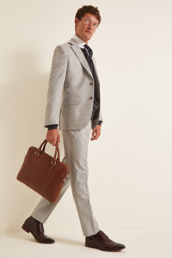 Barberis Tailored Fit Light Grey Flannel Suit Jacket