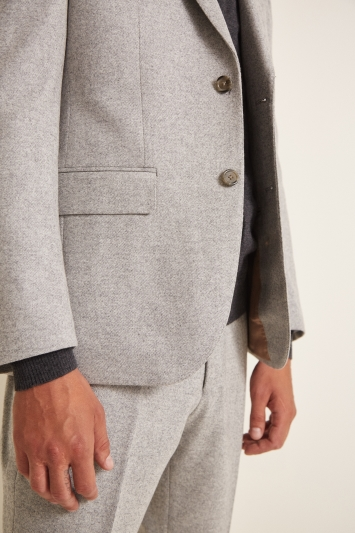 Barberis Tailored Fit Light Grey Flannel Jacket