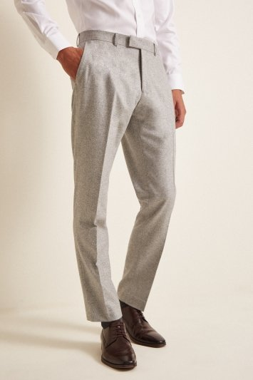 Barberis Tailored Fit Light Grey Flannel Trousers