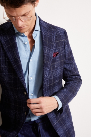 Barberis Tailored Fit Blue Check Jacket