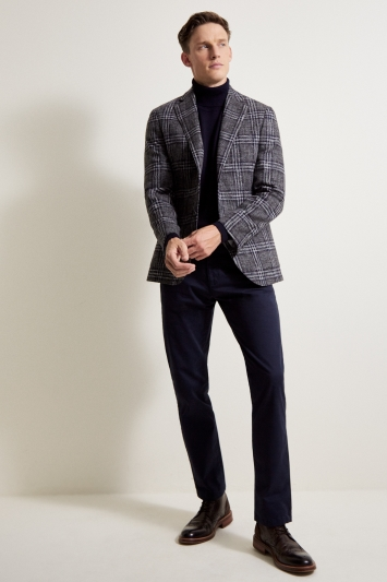 Barberis Tailored Fit Grey with Blue Check Jacket