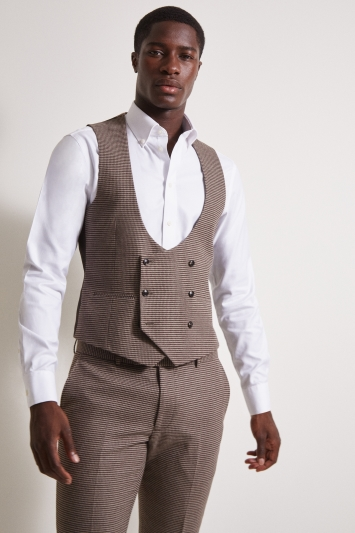 Moss London Slim Fit Brown Puppytooth Double-Breasted Waistcoat