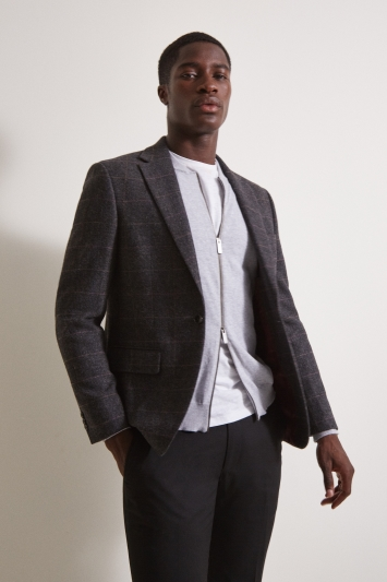Moss London Slim fit Charcoal Multi Check Tweed Jacket