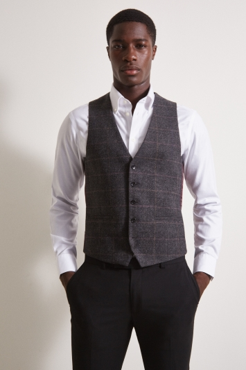 Moss London Charcoal Multi Check Tweed Waistcoat
