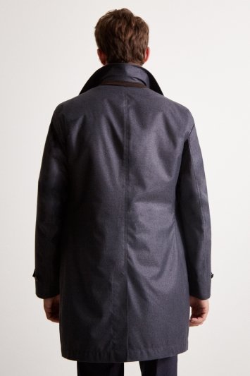 Savoy Taylors Guild Tailored Fit Charcoal Quilted Raincoat