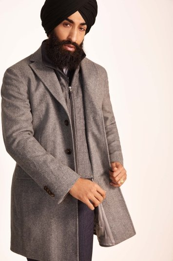 Savoy Taylors Guild Tailored Fit Light Grey Herringbone Overcoat With Insert