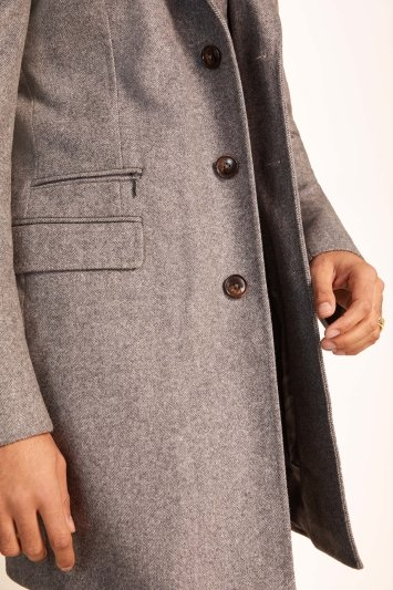 Tailored Fit Grey Herringbone Overcoat
