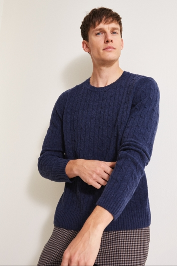 Moss London Navy Cable Crew-Neck Jumper