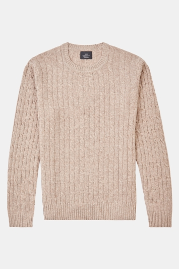 Moss London Oatmeal Cable Crew-Neck Jumper