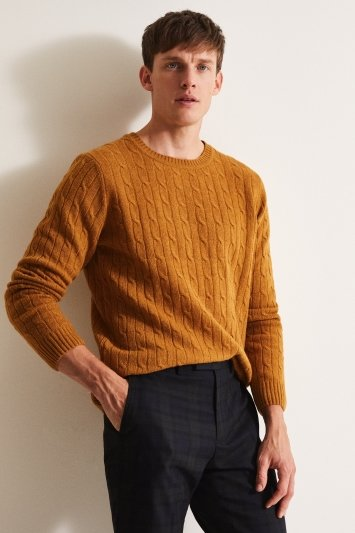 Moss London Mustard Cable Crew-Neck Jumper