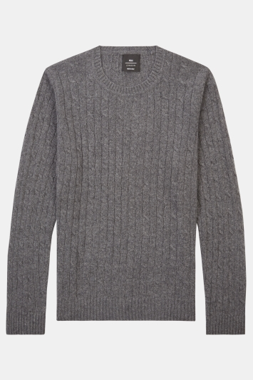 Moss London Charcoal Cable Crew-Neck Jumper