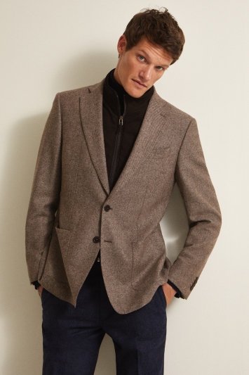 Savoy Taylors Guild Tailored Fit Brown Twill With Chocolate Insert Jacket