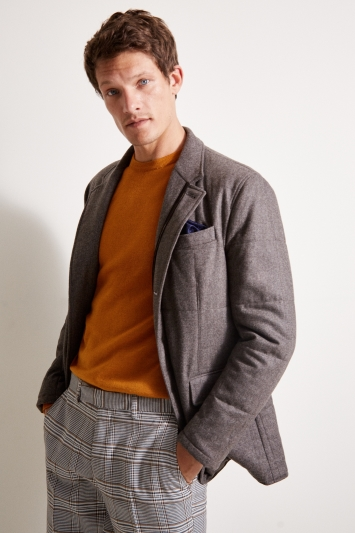 Savoy Taylors Guild Tailored Fit Taupe Padded Jacket