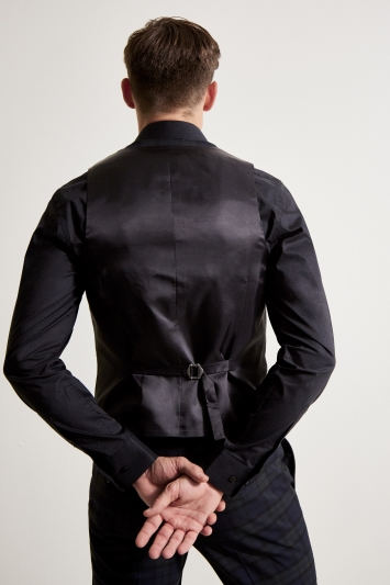 Moss London Slim Fit Tartan Double Breasted Dresswear Waistcoat