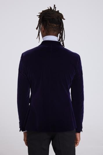 Moss London Slim Fit Ink Velvet Double Breasted Dresswear Jacket