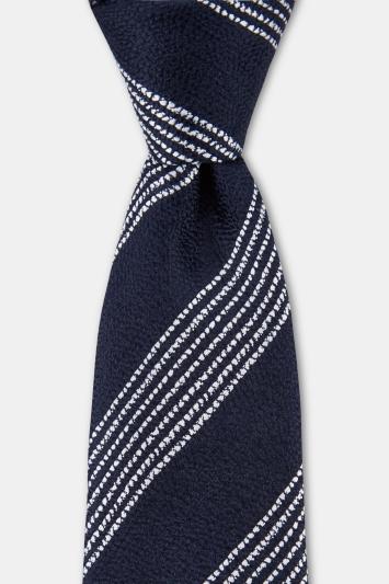 Moss 1851 Navy with White Broken Stripe Silk Tie