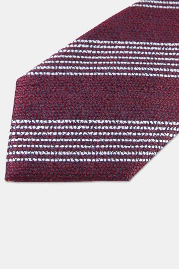 Moss 1851 Wine with White Broken Stripe Silk Tie