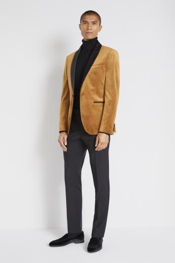Moss London Slim Fit Camel Velvet Dresswear Jacket