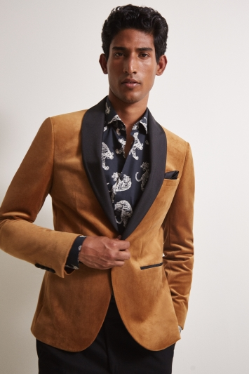 Moss London Slim Fit Camel Velvet Dresswear Jacket