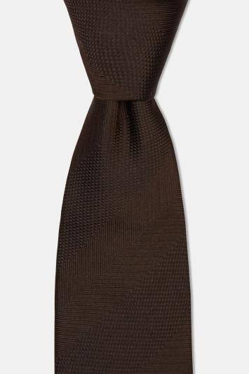 Moss 1851 Brown Herringbone Wide Stripe Silk Tie