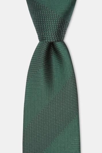 Moss 1851 Green Herringbone Wide Stripe Silk Tie