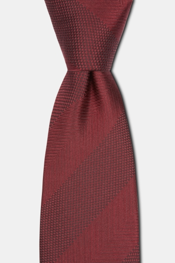Moss 1851 Burgundy Herringbone Wide Stripe Silk Tie
