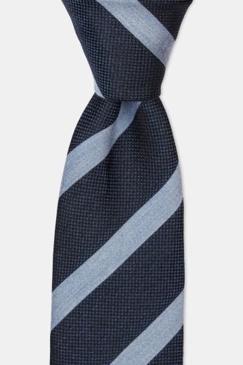 Navy & Sky Melange Stripe Silk Tie