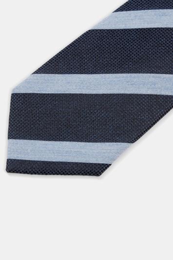 Moss 1851 Navy & Sky Melange Stripe Silk Tie