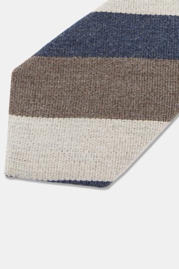 Navy, Coffee & Ecru Stripe Tie