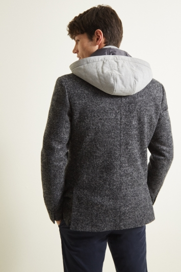 Moss London Slim Fit Charcoal with Light Grey Hood Jacket
