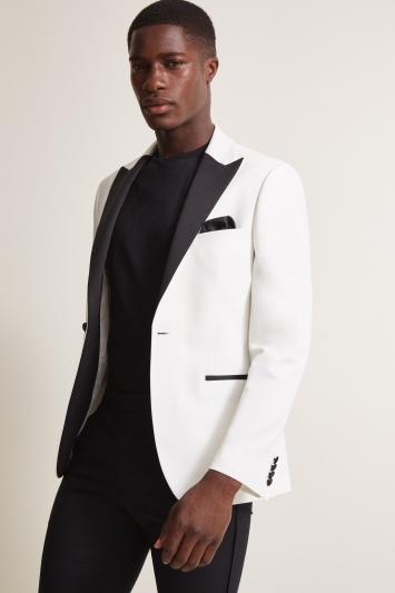 Moss London Slim Fit White & Black Lapel Dresswear Jacket