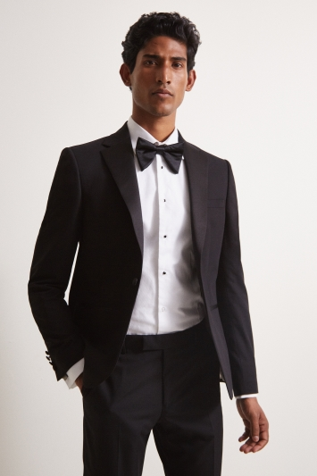 Moss London Slim Fit Black with Satin Notch Lapel Dresswear Jacket