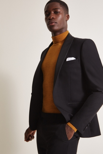 Moss London Slim Fit Black with Satin Shawl Lapel Dresswear Jacket